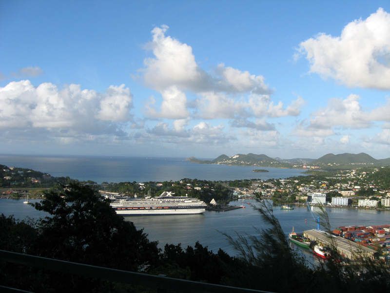 Port of Castries with a view of the north west of St. Lucia and Pigeon Island